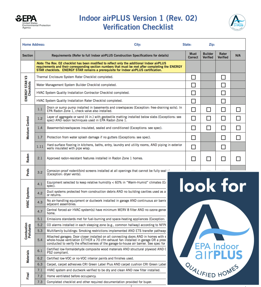 EPA Indoor Air Plus checklist