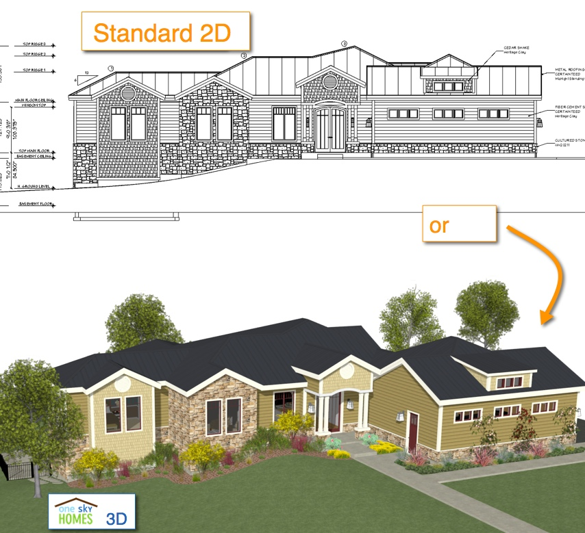 2D vs 3D Front Elevation