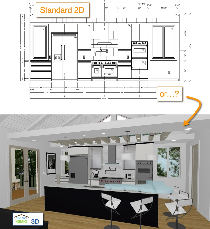 2D vs 3D Kitchen Elevation